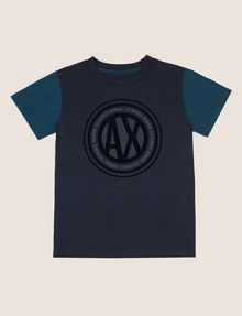 ARMANI EXCHANGE BOYS SLIM-FIT COLORBLOCK CIRCLE LOGO TEE Logo T-shirt [*** pickupInStoreShippingNotGuaranteed_info ***] f