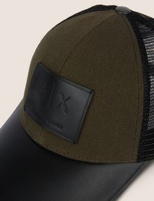 ARMANI EXCHANGE FAUX-LEATHER LOGO PATCH HAT Hat [*** pickupInStoreShippingNotGuaranteed_info ***] d