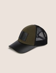 ARMANI EXCHANGE FAUX-LEATHER LOGO PATCH HAT Hat [*** pickupInStoreShippingNotGuaranteed_info ***] f