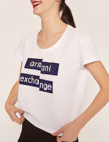 ARMANI EXCHANGE FRAGMENTED EMOJI CROP Logo T-shirt [*** pickupInStoreShipping_info ***] b