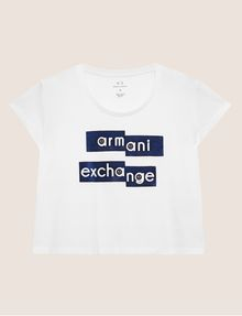 ARMANI EXCHANGE FRAGMENTED EMOJI CROP Logo T-shirt [*** pickupInStoreShipping_info ***] r