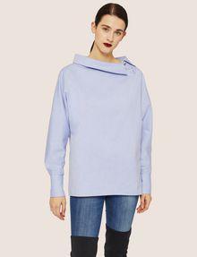 ARMANI EXCHANGE ASYMMETRICAL COLLAR BLOUSE Plain Shirt Woman f