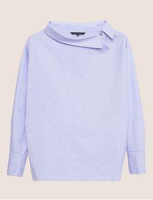 ARMANI EXCHANGE ASYMMETRICAL COLLAR BLOUSE Plain Shirt Woman r