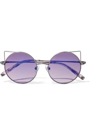MATTHEW WILLIAMSON Round-frame gunmetal-tone sunglasses
