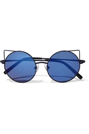 MATTHEW WILLIAMSON Round-frame metal and acetate mirrored sunglasses