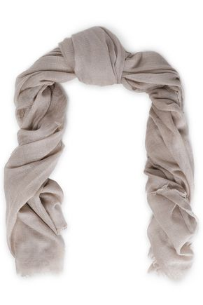 Frayed cashmere and silk-blend gauze scarf