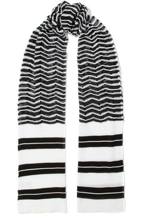 M MISSONI Striped crochet-knit cotton-blend scarf