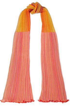 M MISSONI Two-tone crochet-knit cotton-blend scarf
