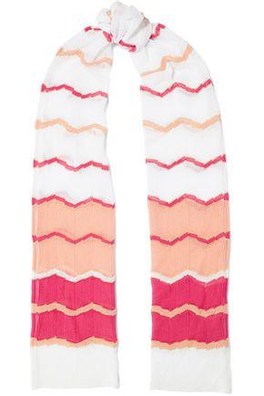 M MISSONI Striped metallic crochet-knit cotton-blend scarf