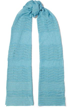 M MISSONI Metallic crochet-knit scarf