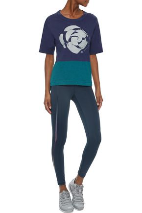 39a27f76618c ADIDAS by STELLA McCARTNEY Two-tone printed cotton-jersey T-shirt