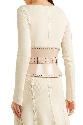 ALEXANDER MCQUEEN Eyelet-embellished leather waist belt