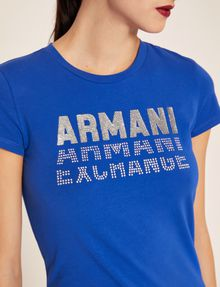 ARMANI EXCHANGE GLITTER STUD SHADOW LOGO TEE Logo T-shirt Woman b