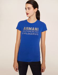 ARMANI EXCHANGE GLITTER STUD SHADOW LOGO TEE Logo T-shirt Woman f