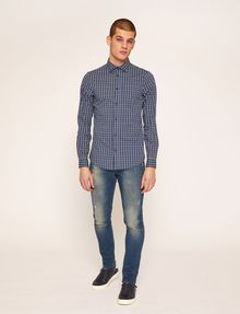 ARMANI EXCHANGE SLIM-FIT PLAID STRETCH SHIRT Checked Shirt [*** pickupInStoreShippingNotGuaranteed_info ***] d