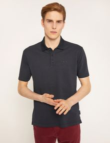 ARMANI EXCHANGE TONAL STRIPE-FRONT POLO SHORT SLEEVES POLO Man f