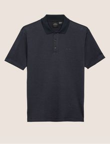 ARMANI EXCHANGE TONAL STRIPE-FRONT POLO SHORT SLEEVES POLO Man r