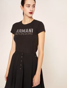ARMANI EXCHANGE GLITTER STUD SHADOW LOGO TEE Logo T-shirt [*** pickupInStoreShipping_info ***] f