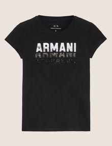 ARMANI EXCHANGE GLITTER STUD SHADOW LOGO TEE Logo T-shirt [*** pickupInStoreShipping_info ***] r