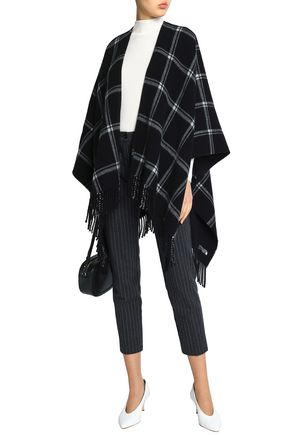 IRIS & INK Stephanie fringed checked wool wrap