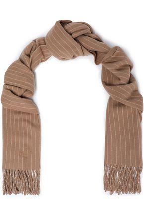 Fringed pinstriped wool scarf