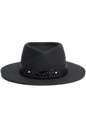 Embellished leather-trimmed wool-felt fedora
