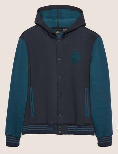 WORLD LOGO HOODED VARSITY JACKET