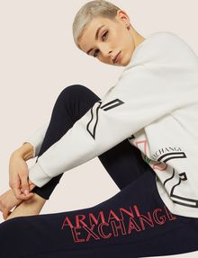 ARMANI EXCHANGE POSITIVE/NEGATIVE LOGO SWEATPANT Fleece Trouser Woman a