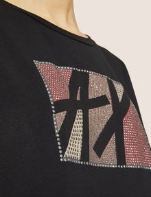 ARMANI EXCHANGE STUDDED MARQUEE LOGO CREW Logo T-shirt [*** pickupInStoreShipping_info ***] b