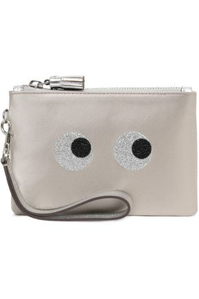 ANYA HINDMARCH Metallic leather-trimmed glittered satin pouch