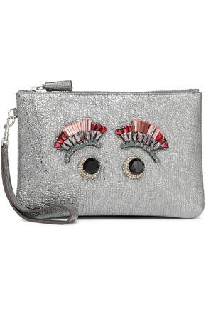 ANYA HINDMARCH Embellished metallic cracked-leather pouch