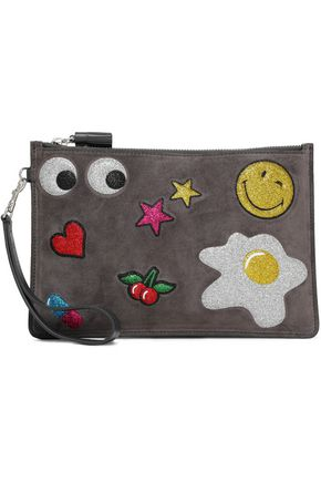 ANYA HINDMARCH Embossed glittered suede pouch