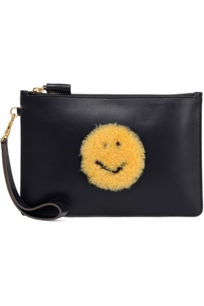 ANYA HINDMARCH Shearling-appliquéd leather clutch