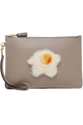 ANYA HINDMARCH Shearling-trimmed leather pouch