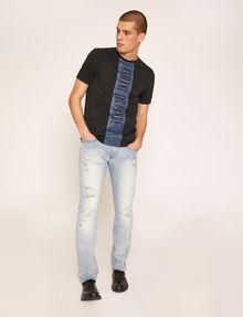 ARMANI EXCHANGE REGULAR-FIT VERTICAL STRIPE CREW Logo T-shirt Man d