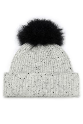 KARL DONOGHUE Shearling-trimmed marled cashmere beanie