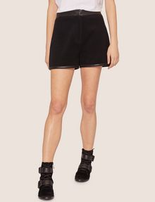 ARMANI EXCHANGE FAUX-LEATHER TRIMMED WOOL BLEND SHORT Shorts [*** pickupInStoreShipping_info ***] f