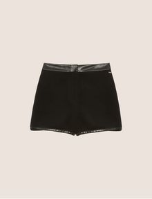 ARMANI EXCHANGE FAUX-LEATHER TRIMMED WOOL BLEND SHORT Shorts [*** pickupInStoreShipping_info ***] r