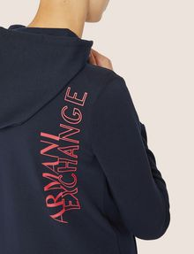ARMANI EXCHANGE POSITIVE/NEGATIVE LOGO ZIP-UP HOODIE Sweatshirt Woman b
