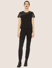 ARMANI EXCHANGE PANELED FAUX-LEATHER YOKE TEE Solid Top Woman d