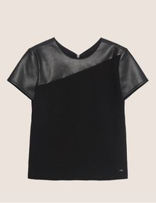 ARMANI EXCHANGE PANELED FAUX-LEATHER YOKE TEE Solid Top Woman r