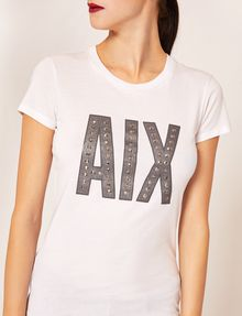 ARMANI EXCHANGE STUDDED GLITTER LOGO CREW Logo T-shirt [*** pickupInStoreShipping_info ***] b