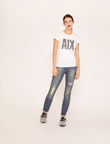 ARMANI EXCHANGE STUDDED GLITTER LOGO CREW Logo T-shirt [*** pickupInStoreShipping_info ***] d