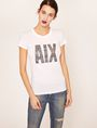ARMANI EXCHANGE STUDDED GLITTER LOGO CREW Logo T-shirt [*** pickupInStoreShipping_info ***] f