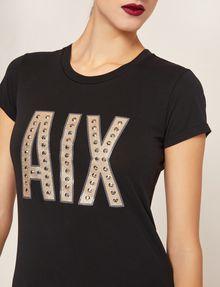 ARMANI EXCHANGE STUDDED GLITTER LOGO CREW Logo T-shirt Woman b