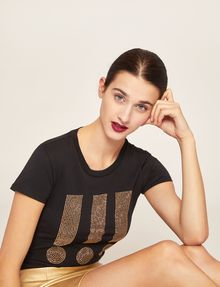 ARMANI EXCHANGE STUDDED EXCLAMATION CREW Graphic T-shirt Woman a