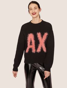 ARMANI EXCHANGE FURRY LOGO WOOL-BLEND SWEATER Crew Neck [*** pickupInStoreShipping_info ***] f
