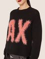 ARMANI EXCHANGE FURRY LOGO WOOL-BLEND SWEATER Crew Neck [*** pickupInStoreShipping_info ***] b