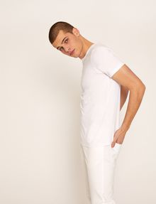 ARMANI EXCHANGE SLIM-FIT EMBROIDERED OVERLAP CREW Logo T-shirt Man a