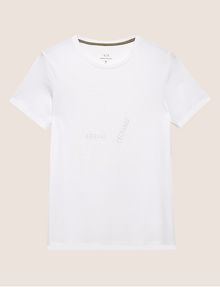 ARMANI EXCHANGE SLIM-FIT EMBROIDERED OVERLAP CREW Logo T-shirt Man r